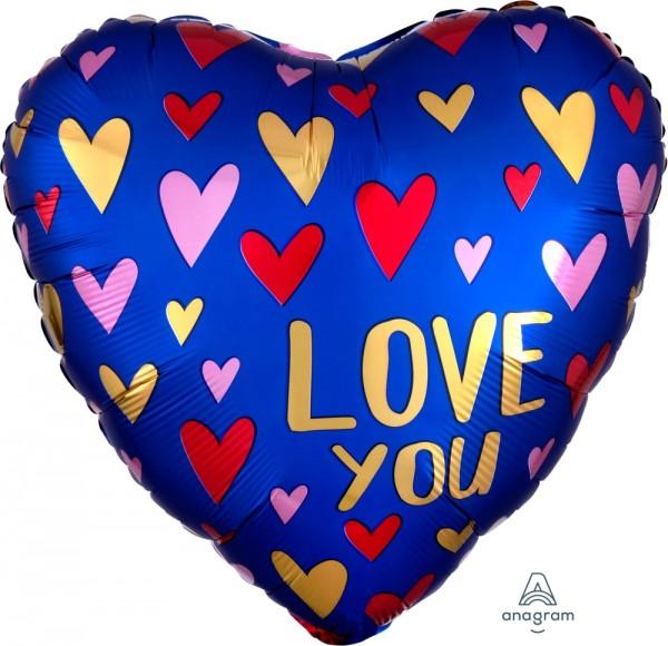 "Anagram Folienballon Herz Satin Love You Navy & Gold 45cm/18"""