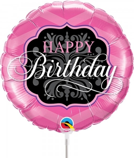 "Qualatex Folienballon Birthday Pink & Black 23cm/9"" luftgefüllt inkl. Stab"