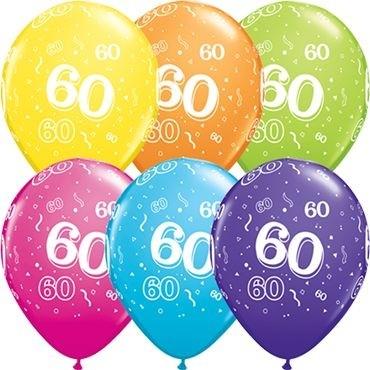 "Qualatex Latexballon Age 60 Retail Sortiment 28cm/11"" 6 Stück"