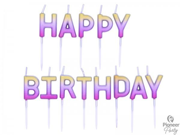 """Pioneer Kerzen """"Happy Birthday"""" Rosegold 3cm"""