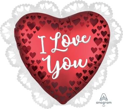 Anagram Folienballon Herz 60cm Durchmesser Satin Rot I Love You (Sangria)