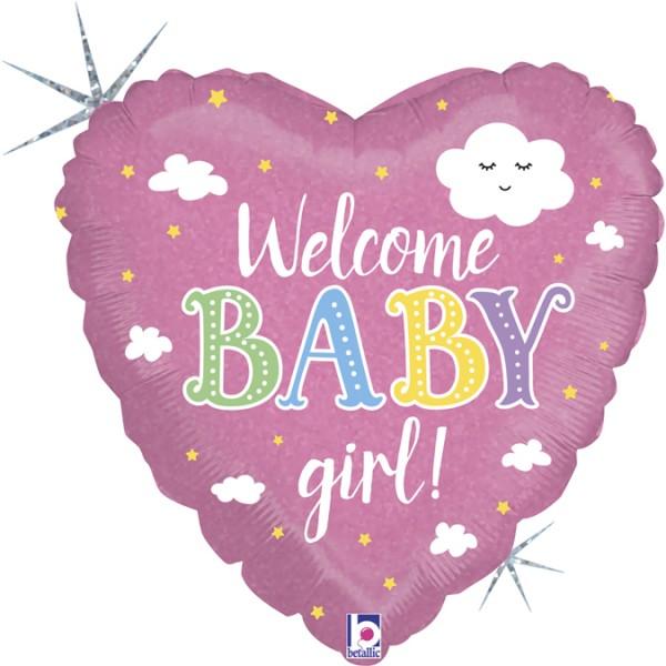 """Betallic Folienballon Welcome Baby Girl Holo 46cm/18"""""""
