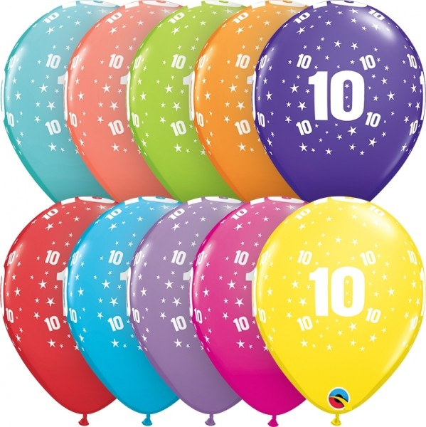 "Qualatex Latexballon Age 10 Retail Sortiment 28cm/11"" 6 Stück"