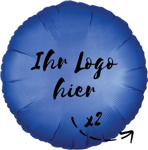 """Folien-Werbeballon Rund Satin Luxe Azure 45cm/18"""" 2-Seitig bedruckt"""