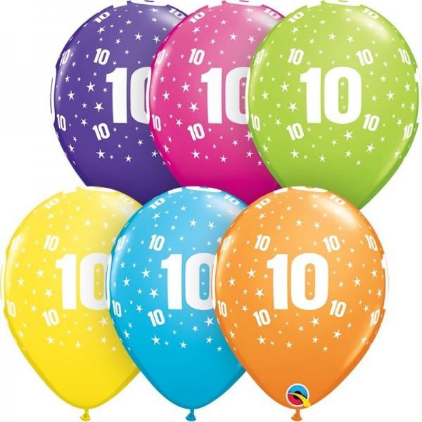 "Qualatex Latexballon Stars 10-A-Round Tropical Assotment 28cm/11"" 50 Stück"
