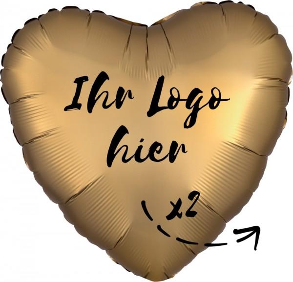 """Folien-Werbeballon Herz Satin Luxe Gold 45cm/18"""" 2-Seitig bedruckt"""