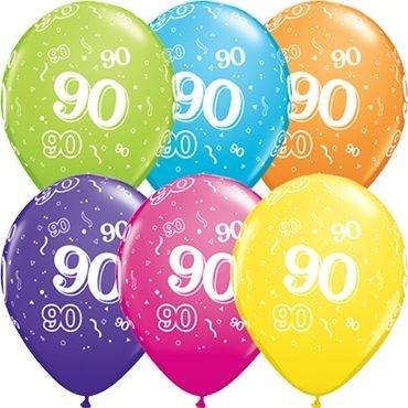 "Qualatex Latexballon Age 90 Tropical Sortiment 28cm/11"" 50 Stück"