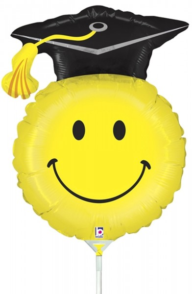 "Betallic Folienballon Grad Smiley Mini 35cm/14"" luftgefüllt inkl. Stab"