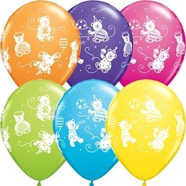 "Qualatex Latexballon Cute & Cuddly Bears Tropical Assortment 28cm/11"" 25 Stück"