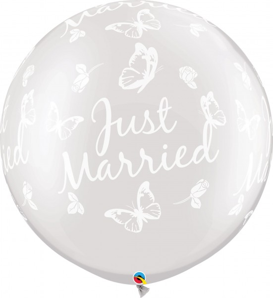 "Qualatex Latexballon Just Married Roses & Butterflies Pearl White 75cm/30"" 2 Stück"