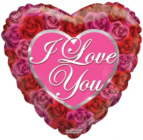 """Kaleidoscope Folienballon Love With Roses 18"""" F"""