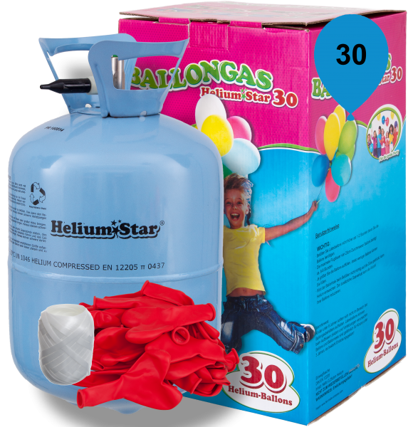 HeliumStar Ballongas 30er Einwegflaschen-Set mit 30 Roten Herzballons & Bandknäuel
