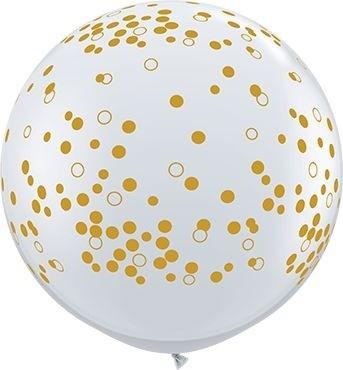 Qualatex Latexballon Confetti Dots-A-Round Diamand Clear 90cm/3' 2 Stück