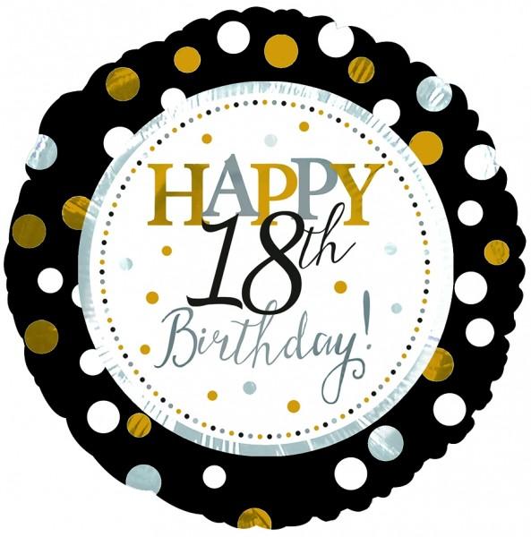 "CTI Folienballon 18"" Happy 18th Birthday Schwarz & Gold"
