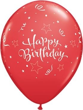 """Qualatex Latexballon Birthday Shining Star Red 28cm/11"""" 25 Stück"""