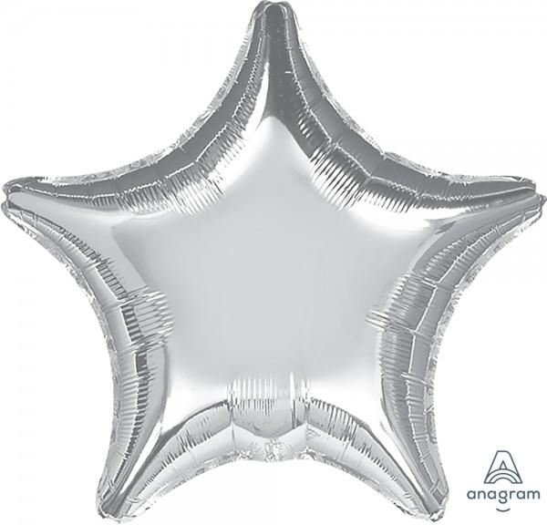 "Anagram Folienballon Stern Metallic Silver 80cm/32"""