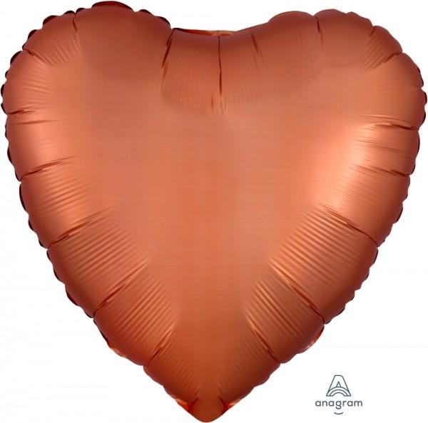 Anagram Folienballon Herz 45cm Durchmesser Satin Kupfer (Amber)