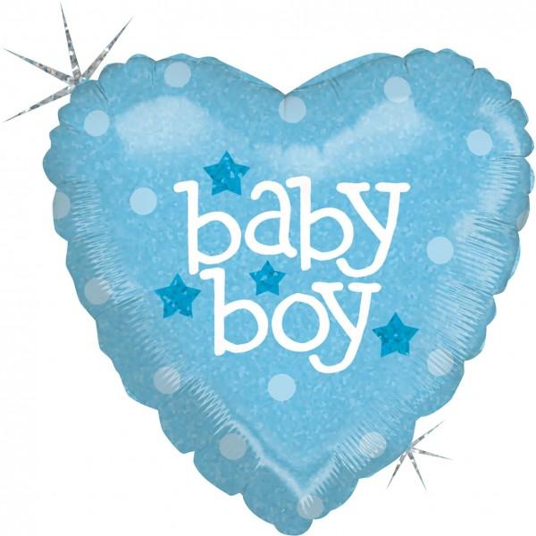 "Betallic Folienballon Baby Heart Boy Holographic 23cm/9"""