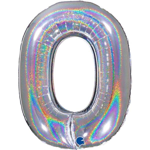 """Grabo Folienballon Zahl 0 Glitter Holographic Silver 100cm/40"""""""