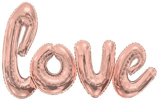 "Kaleidoscope Folienballon Happy Love Script Rose Gold 84x53"" S"