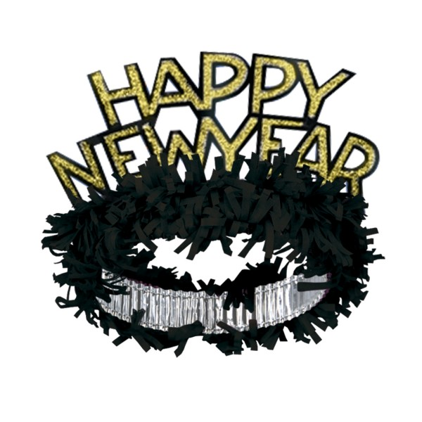 "Beistel ""Happy New Year"" Tiara Schwarz & Gold"