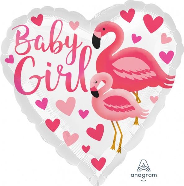 "Folienballon Herz HX Flamingo ""Baby Girl"" 45cm/18"""
