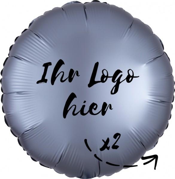 """Folien-Werbeballon Rund Satin Luxe Graphite 45cm/18"""" 2-Seitig bedruckt"""