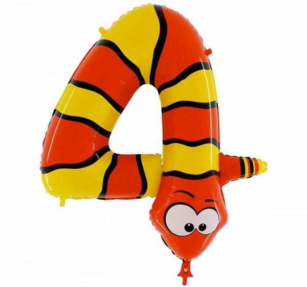 "Grabo Folienballon Zahl 4 Animaloon Schlange 100cm/40"""