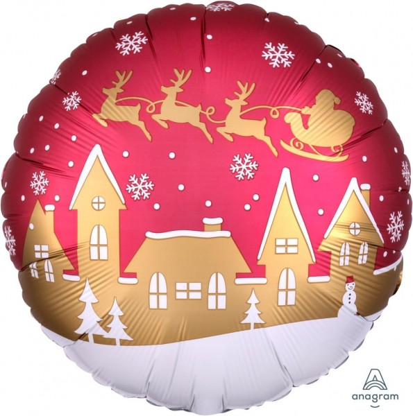 Anagram Folienballon Rund Satin Santa Village 45cm/18""