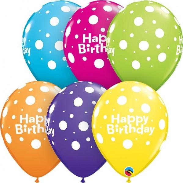 "Qualatex Latexballon Birthday Big Polka Dots Tropocal Assortment 28cm/11"" 25 Stück"