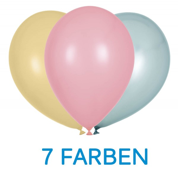 Globos Luftballons 100er Packung 30cm Durchmesser Pearl Bunt 7 Farben Naturlatex