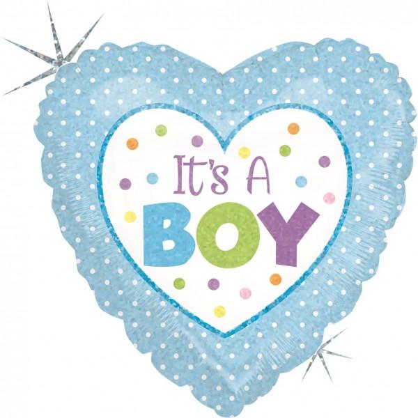 "Betallic Folienballon Baby Boy Dots Holographic 23cm/9"""