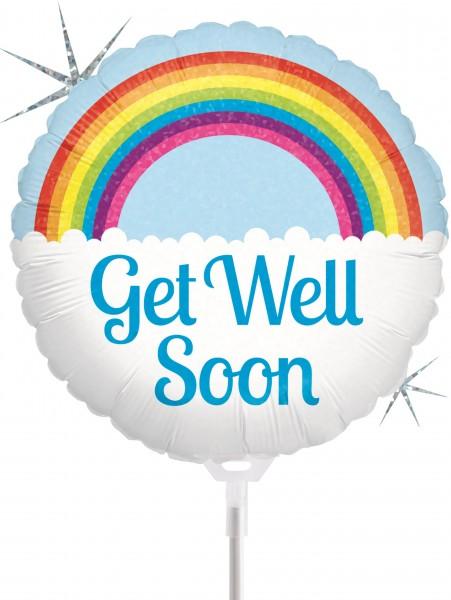 "Betallic Folienballon Get Well Soon Rainbow Holographic 23cm/9"" luftgefüllt inkl. Stab"