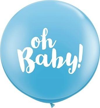 Qualatex Latexballon Oh Baby! Pale Blue 90cm/3' 2 Stück