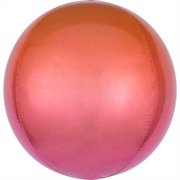 "Anagram Folienballon Orbz Ombré Red & Orange 40cm/16"""