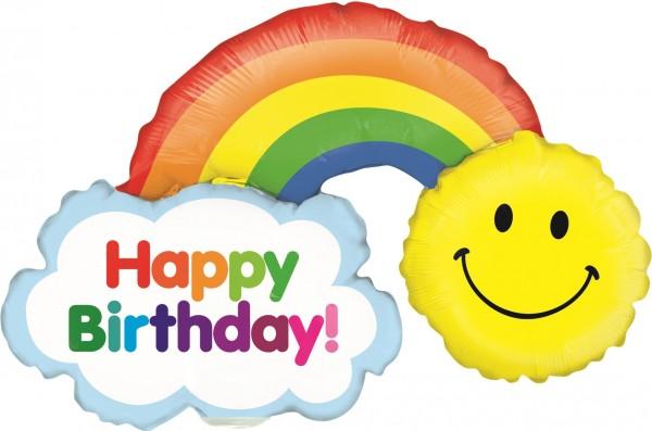 """Betallic Folienballon Mini Birthday Rainbow 35cm/14"""""""