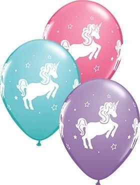 "Qualatex Latexballon Whimsical Unicorn Assorted 28cm/11"" 25 Stück"