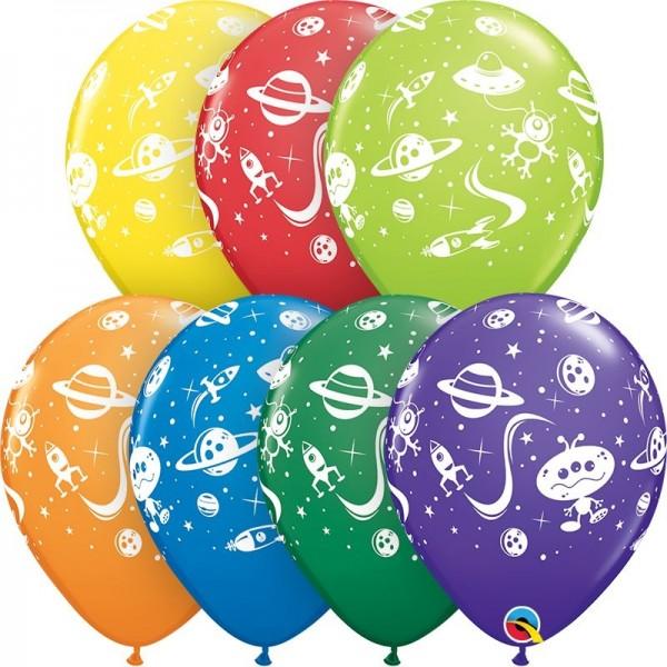 "Qualatex Latexballon Aliens und Space Ships Carnival Sortiment 28cm/11"" 25 Stück"