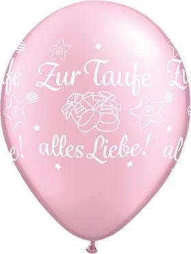 """Qualatex Latexballon Zur Taufe alles Liebe! Pearl Pink 28cm/11"""" 25 Stück"""