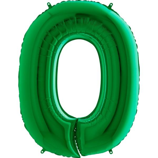 "Grabo Folienballon Zahl 0 Green 100cm/40"""