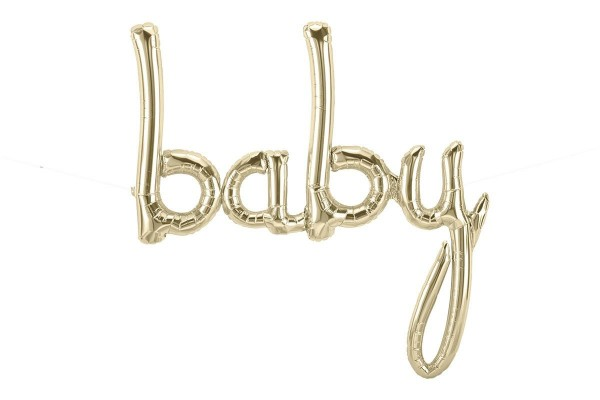 Northstar Folienballon Baby Script White Gold 46""