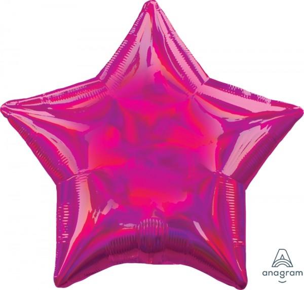 Anagram Folienballon Stern 45cm Durchmesser Iridescent Magenta (Fuchsia) Holo