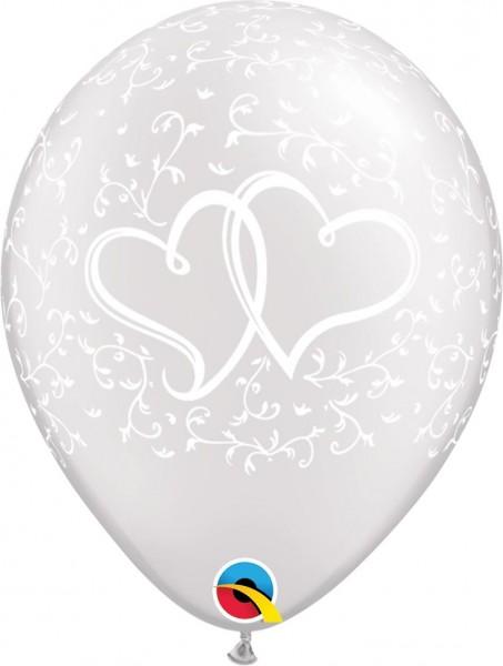 "Qualatex Latexballon Entwined Hearts White 28cm/11"" 25 Stück"