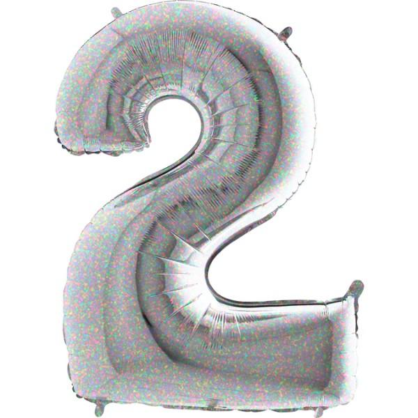 "Grabo Folienballon Zahl 2 Holographic 100cm/40"""