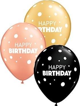 "Qualatex Latexballon Birthday Big & Little Dots Assorted Gold, Onxy Black & Rose Gold 28cm/11"" 25 Stück"