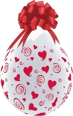 "Qualatex Verpackungsballon Swirling Red Hearts-A-Round Diamond Clear 45cm/18"" 25 Stück"