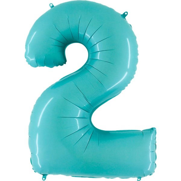 "Grabo Folienballon Zahl 2 Pastel Blue 100cm/40"""
