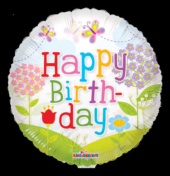 "Kaleidoscope Folienballon ""Happy Birthday - Blumenwiese"", 18"""
