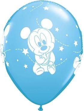 "Qualatex Latexballon Baby Mickey Stars Blue 28cm/11"" 6 Stück"