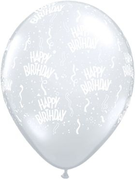 "Qualatex Latexballon Birthday-A-Round Diamond Clear 28cm/11"" 50 Stück"